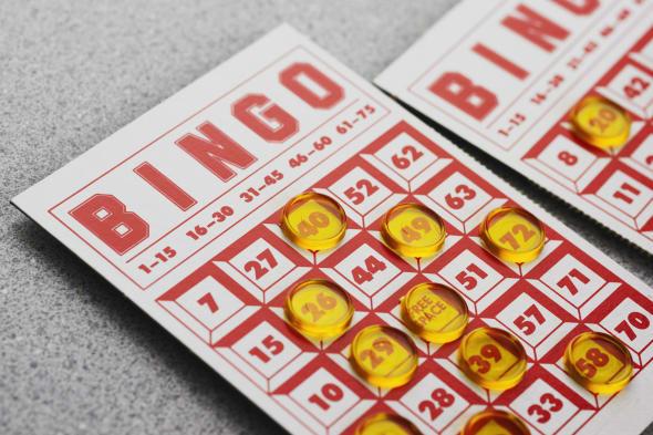 Still life of bingo card