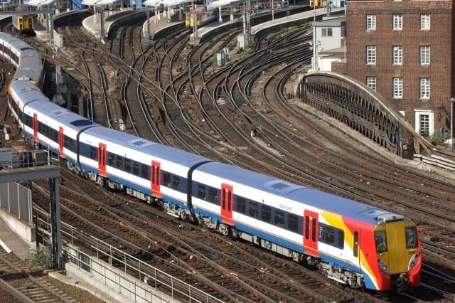 Waterloo railway station and train