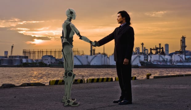 Robot and man gretting at the port