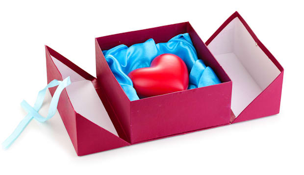 heart in box isolated on white