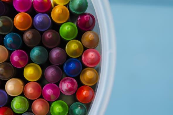 close up set of crayons and mix color