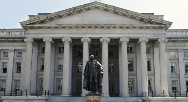 Budget Deficit (FILE- In this Monday, Aug. 8, 2011, file photo, a statue of former Treasury Secretary Albert Gallatin stands gua