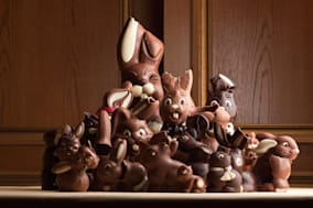 Heap of different chocolate Easter bunnies.
