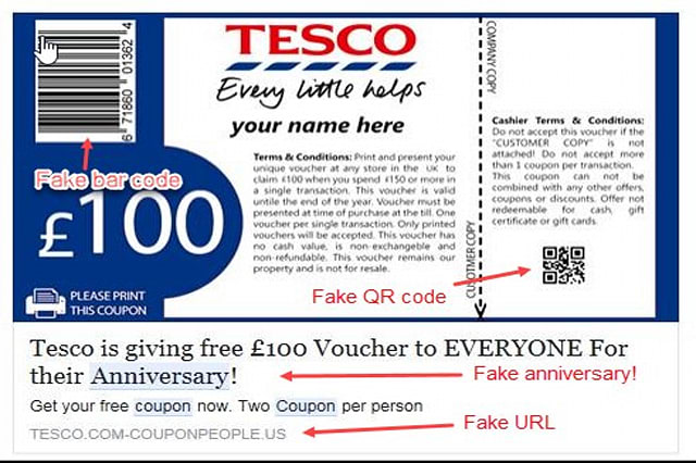 A screenshot of the fake coupon claim page: