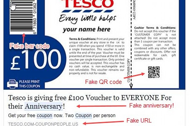 The fake Tesco voucher