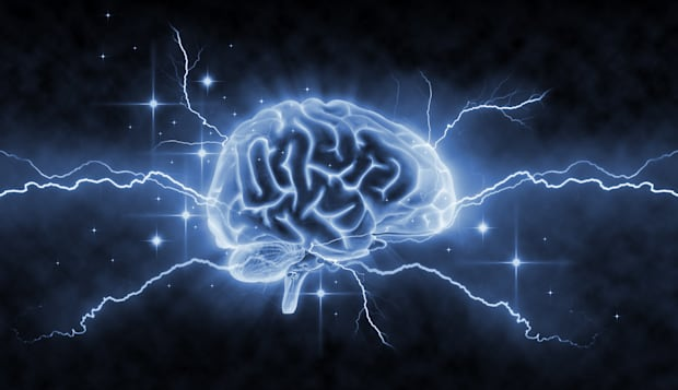 '3d-render, retouching and drawing of human brain. Lightning and stars symbolize neuronal activity.Concept for brainstorm, ideas