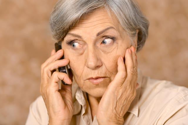 portrait of worried elderly...