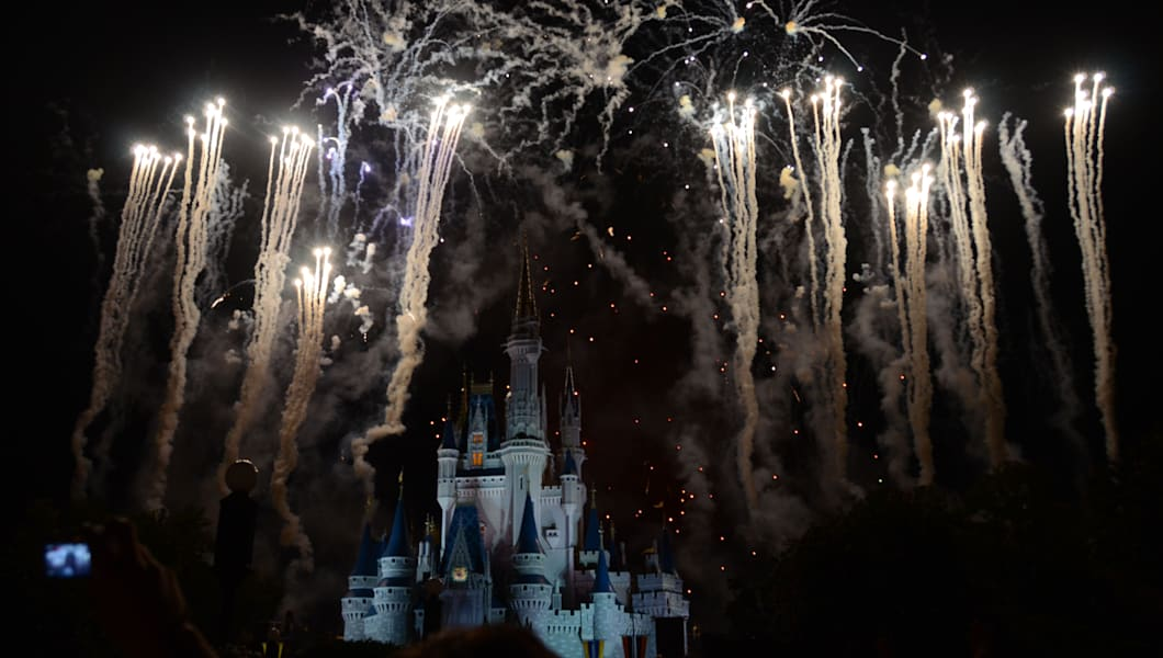 Fireworks over Cinderella Castle Magic Kingdom Disney World Florida