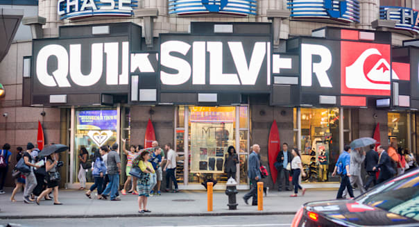 Teen apparel retailer Quicksilver's Times Square store in New York