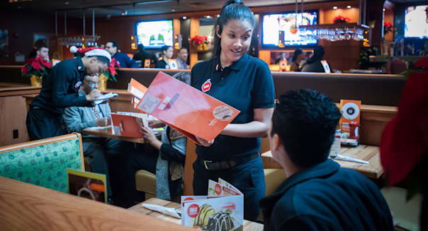 The grand opening of the new Applebee's casual dining restaurant in the East River Plaza shopping center in New York