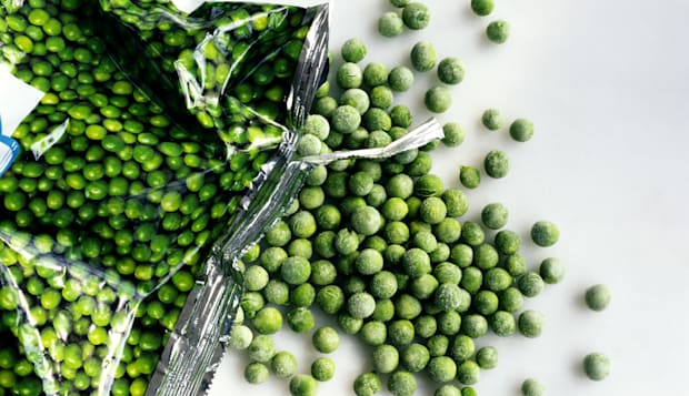 Frozen peas with bag