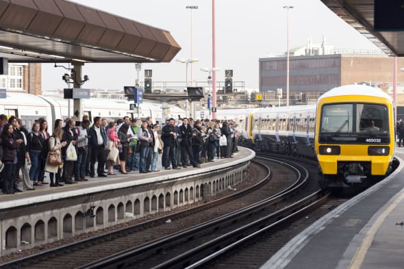 Rush hour at London Bridge train station