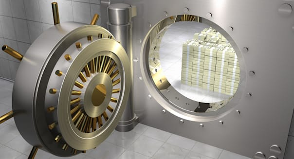 Stack of One Hundred Dollar Bills in Bank Vault