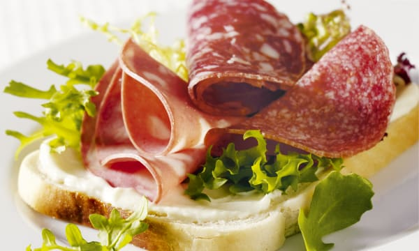 Open Salami & Rocket Sandwich on White Bread