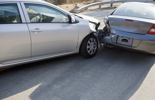 Two cars in collision on roadwayConquering Adversity, Problems, Road, Transportation, Horizontal, Outdoors, Crash, USA, Car, Da