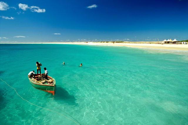 Fishing boat off the coast of Sal Island, Cape Verde, Atlantic Ocean