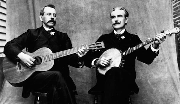 1880s 1890s OLD TIME MUSICIANS PLAYING 6 STRING GUITAR AND 5 STRING BANJO
