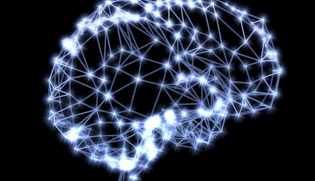 Neural network. Computer artwork of the brain's neural network represented by lines and flashes. A neural network is made up of