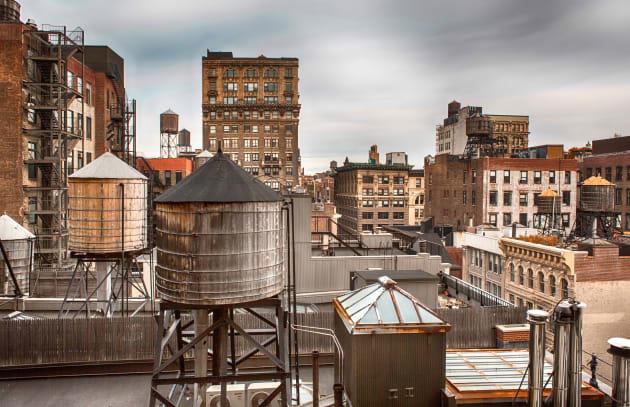 water towers in midtown...
