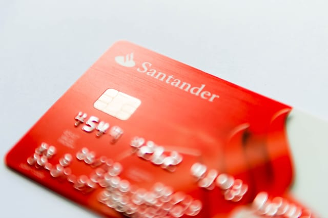 Santander - bank card close up