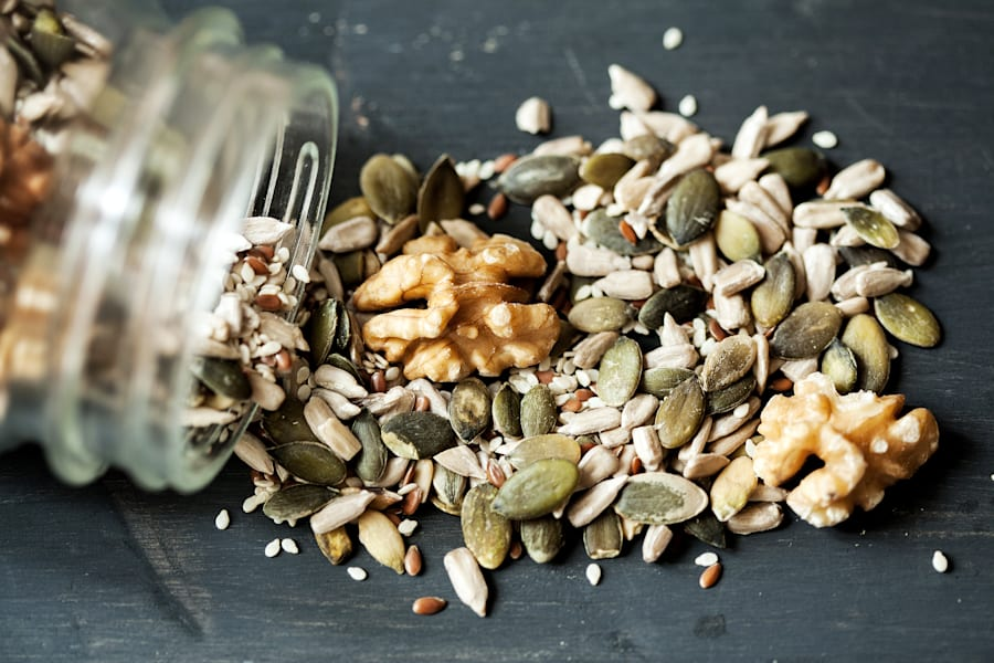 Nuts and seeds are full of healthy fats and help to keep you full for