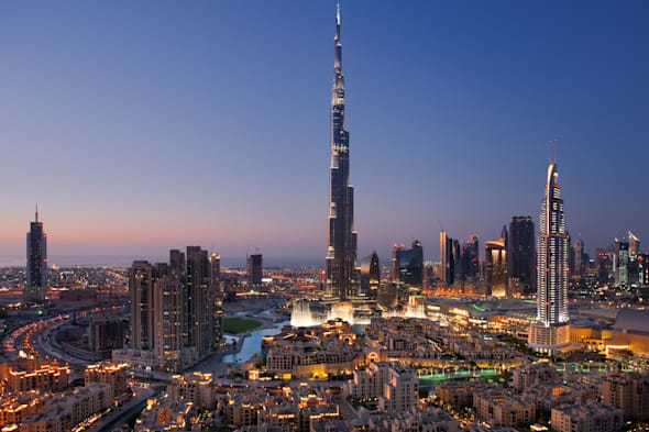 CXWXGM A skyline of Downtown Dubai with Burj Khalifa and Dubai Fountain  Dubai; skyline; dusk; Downtown; Burj; Khalifa; UAE; big