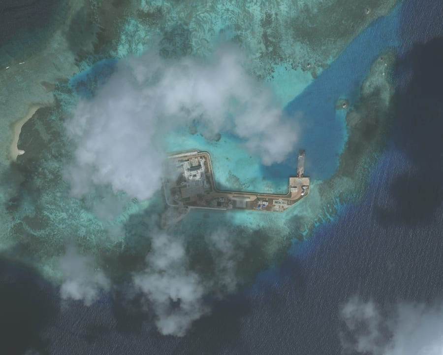 One of the Hughes Reefs. The Hughes Reef is located in the Union banks area within the Spratly group...
