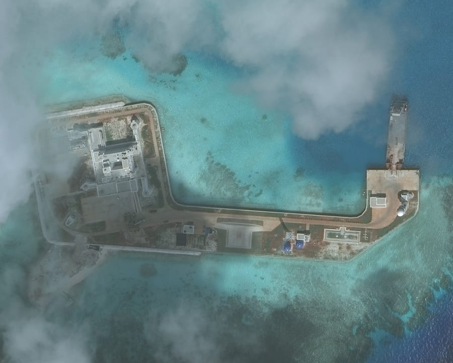 A closeup of one of the Hughes Reefs in the Union banks area within the Spratly group of islands in the...