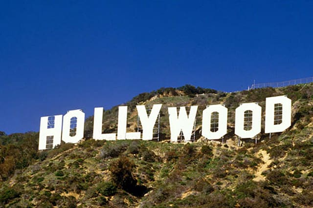 It's difficult to miss the famous Hollywood sign in the rolling hills of Los Angeles, California.