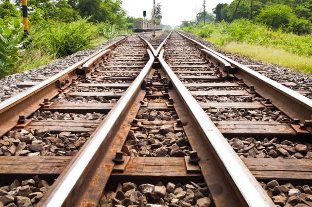 line of railway crossing in...