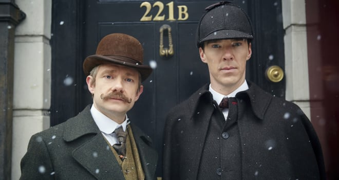 MASTERPIECESherlock: The Abominable BrideBenedict Cumberbatch (The Imitation Game) and Martin Freeman (The Hobbit) return as Sherlock Holmes and Dr. Watson in the acclaimed modern retelling of Arthur Conan Doyle's classic stories. But now our heroes find themselves in 1890s London. Beloved characters Mary Morstan (played by Amanda Abbington), Inspector Lestrade (Rupert Graves) and Mrs. Hudson (Una Stubbs) also turn up at 221b Baker Street. Sherlock: The Abominable Bride is a 90-minute Sherlock Special.Picture Shows: Dr. John Watson (MARTIN FREEMAN), Sherlock Holmes (BENEDICT CUMBERBATCH)© Robert Viglasky/Hartswood Films and BBC Wales for BBC One and MASTERPIECEThis image may be used only in the direct promotion of MASTERPIECE. No other rights are granted. All rights are reserved. Editorial use only.