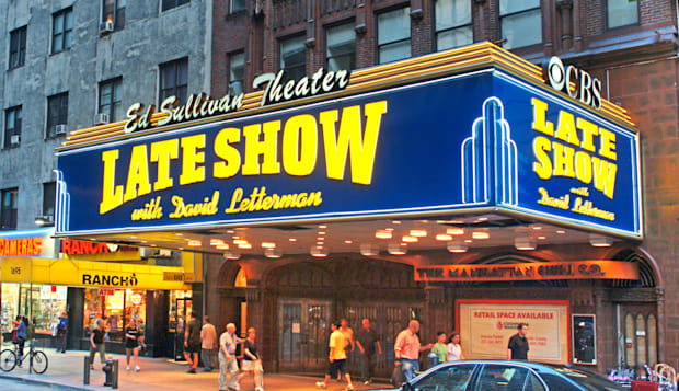 Outside of Ed Sullivan theatre with David Letterman sign