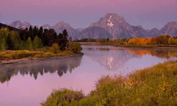 sunset over Snake River at Oxbow Bend Grand Teton National Park Wyoming in fall