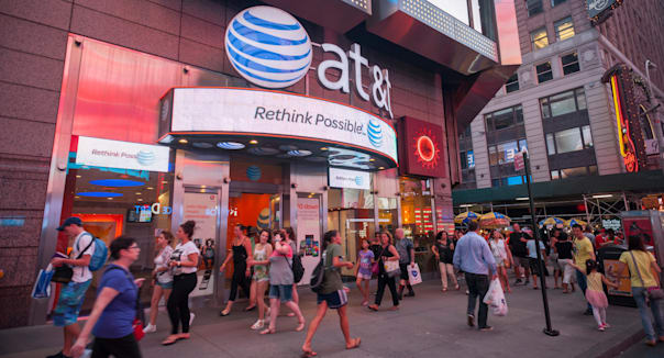 An AT&T cell phone store seen in Times Square in New York on Tuesday, July 8, 2014.  (© Richard B. Levine)