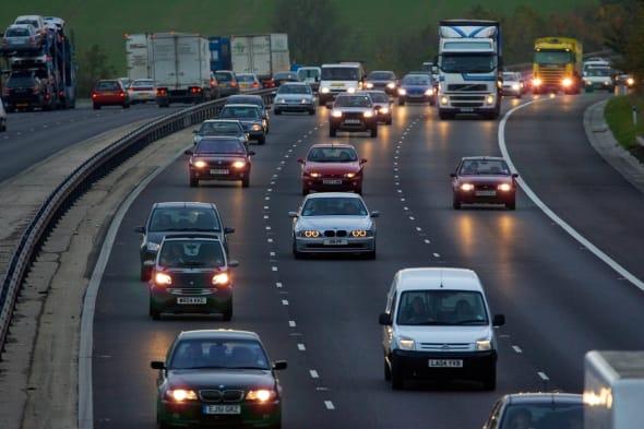 Traffic On M11 Motorway, England, UK