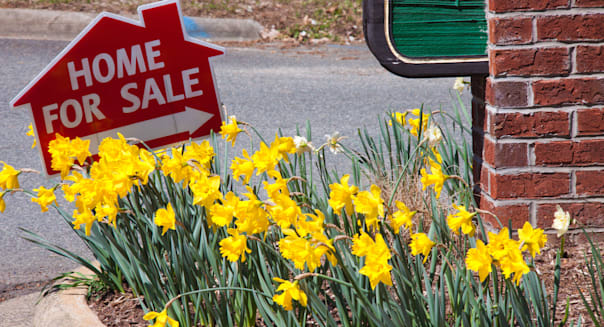 House For Sale sign and daffodils, Spring of 2010