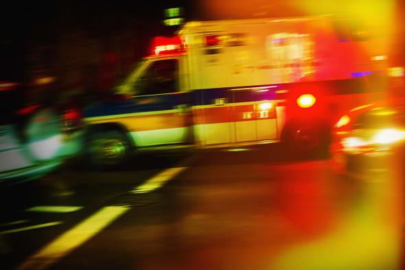 USA, New York City, Ambulance at night