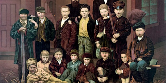 Chimney sweeps in London circa 1880. Children were employed due to there small