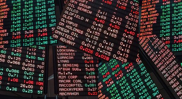 ASX Board in Melbourne shot July 2002 Australia