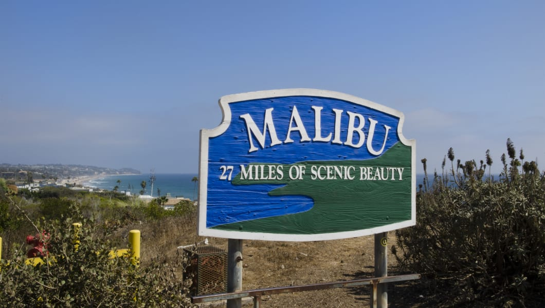 Malibu Los Angeles California Ca Sign At Beach Of Famous Actors Movie Stars With Beach