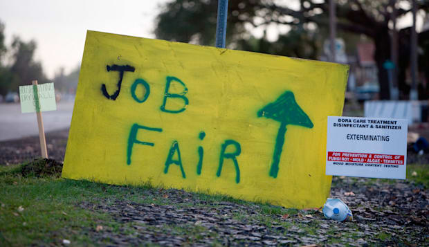 Job Fair sign in spraypaint