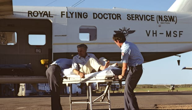 Royal Flying Doctor Service offloading patient