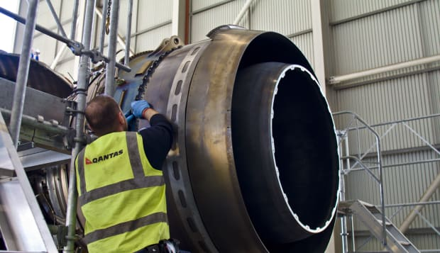 A jet airliner turbofan engine repaired by an aeronautical engineer.