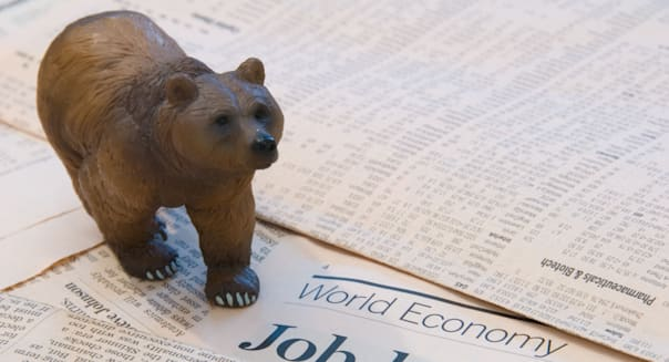 A Bear over the World Economy reports of Job Losses representing the Finance Markets