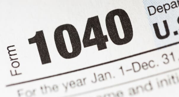 Studio shot of tax form, close-up