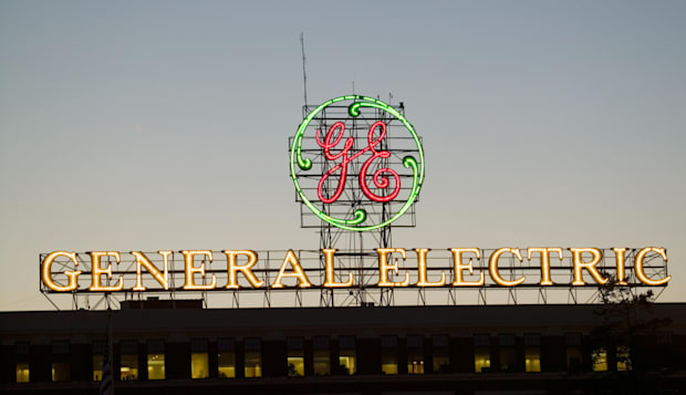 Electric sign and logo greets visitors to General Electric home plant Schenectady New York