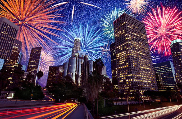 Fireworks exploding over downtown Los Angeles, California, United States