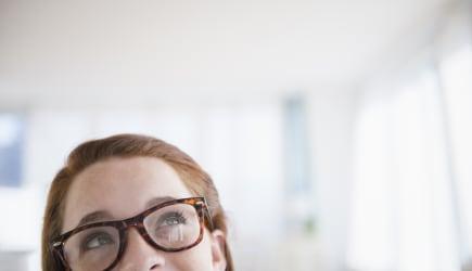 Teenage girl (14-15) wearing glasses