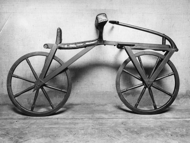 The dandy horse (also known as Laufmaschine), invented by Karl Drais. Being the first means of transport...