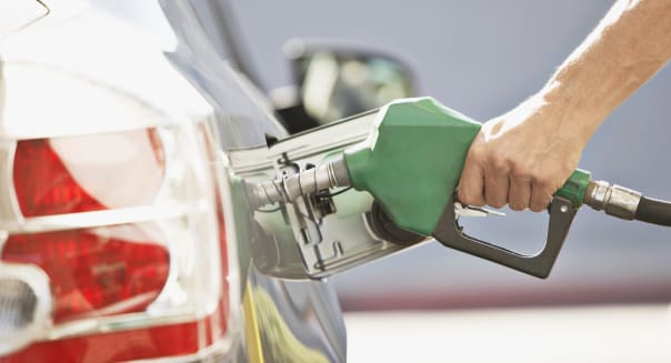 Man pumping gas